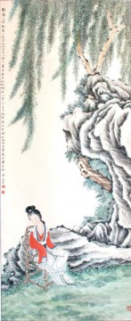 zhang Art - lady under willows Zhang Cuiying traditional Chinese